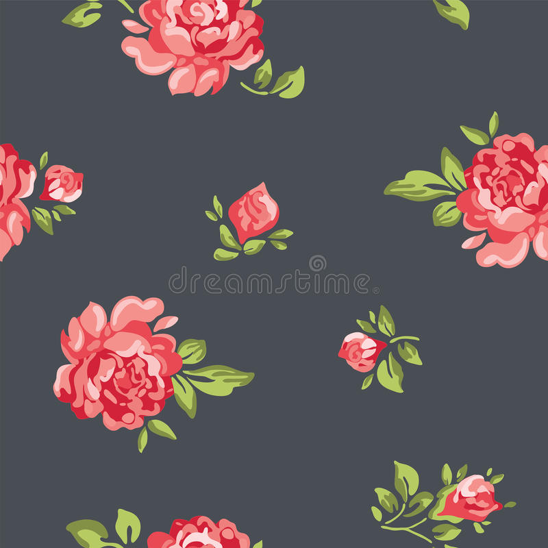 Διανυσματική εκλεκτής ποιότητας άνευ ραφής floral ταπετσαρία σχεδίων με τα ζωηρόχρωμα τριαντάφυλλα διανυσματική απεικόνιση