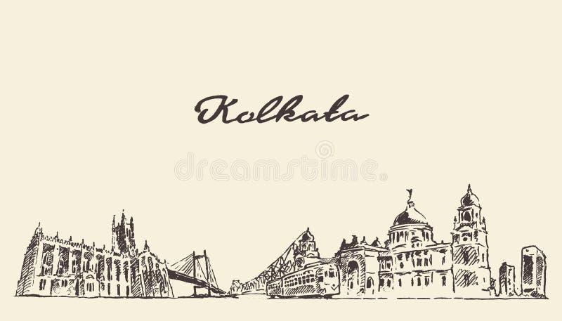 Διανυσματική εκλεκτής ποιότητας απεικόνιση οριζόντων Kolkata που σύρεται απεικόνιση αποθεμάτων