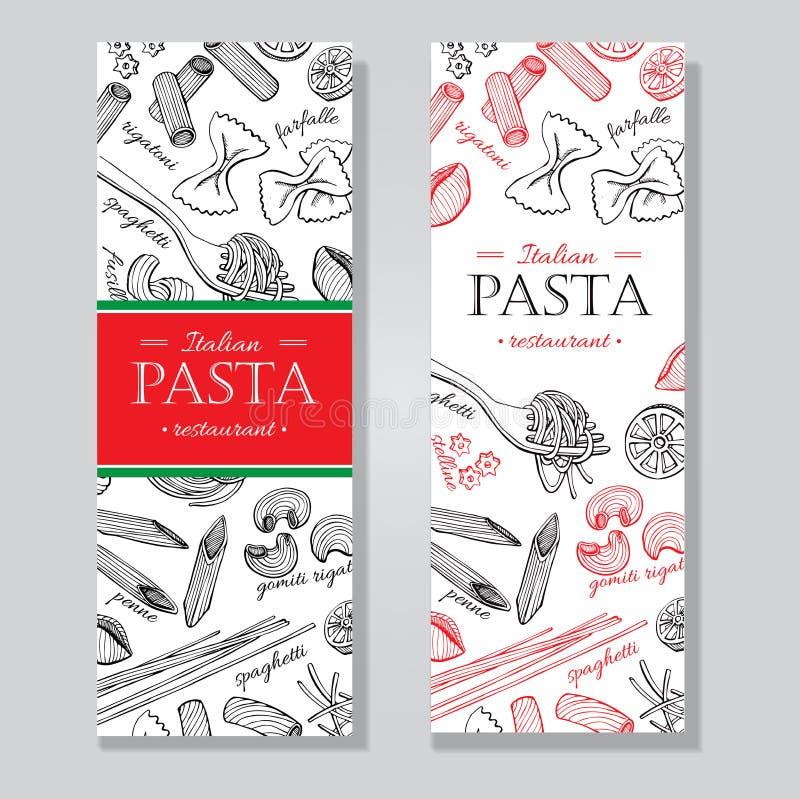 Διανυσματική εκλεκτής ποιότητας ιταλική απεικόνιση εστιατορίων ζυμαρικών συρμένο χέρι διανυσματική απεικόνιση