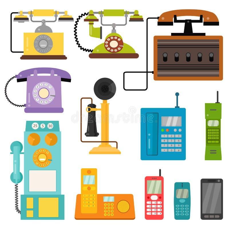 Διανυσματική εκλεκτής ποιότητας τεχνολογία συσκευών σύνδεσης αριθμού τηλεφωνήματος τηλεφωνικού αναδρομική lod τηλεφωνική απεικόνι διανυσματική απεικόνιση