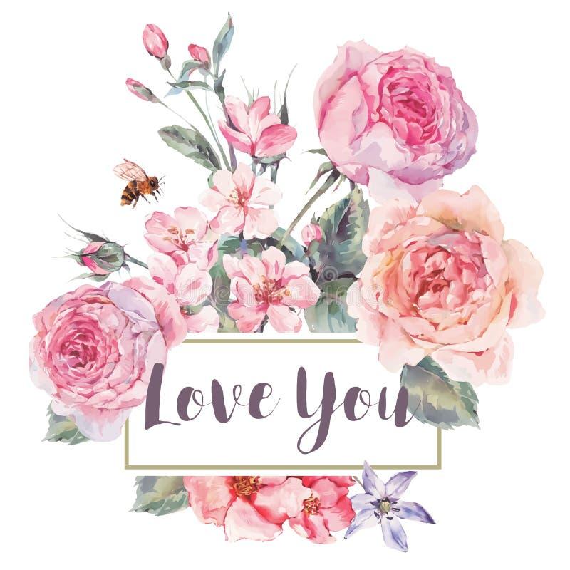Διανυσματική εκλεκτής ποιότητας floral ευχετήρια κάρτα άνοιξη με την ανθοδέσμη των τριαντάφυλλων διανυσματική απεικόνιση