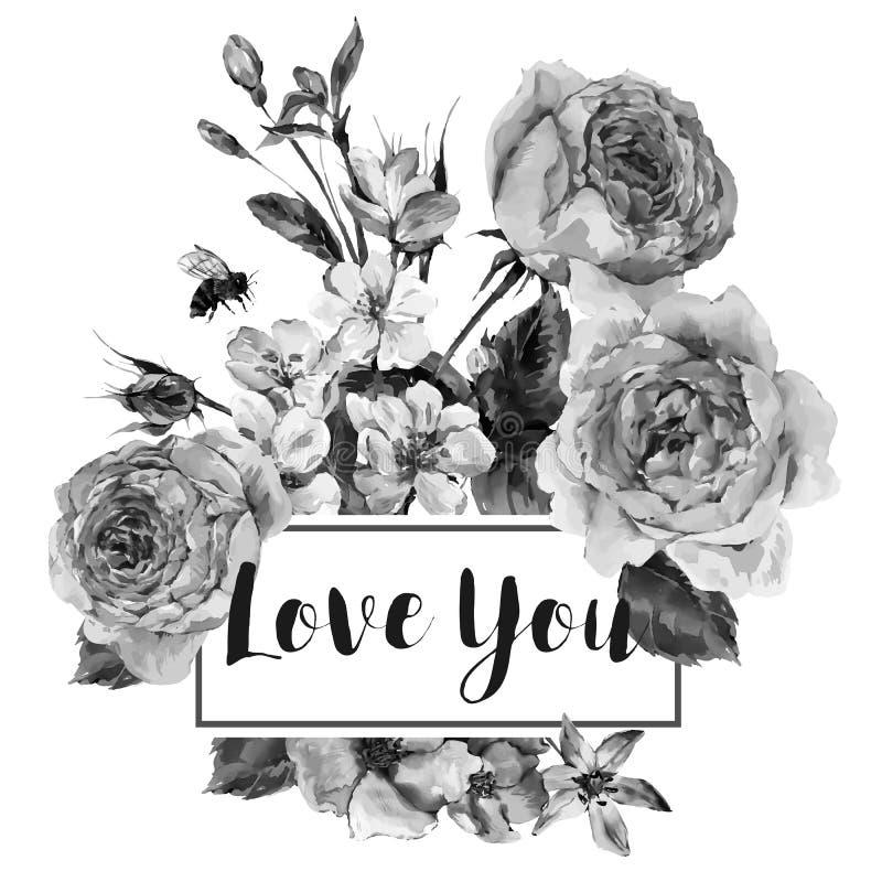 Διανυσματική εκλεκτής ποιότητας floral ευχετήρια κάρτα άνοιξη με την ανθοδέσμη των τριαντάφυλλων ελεύθερη απεικόνιση δικαιώματος