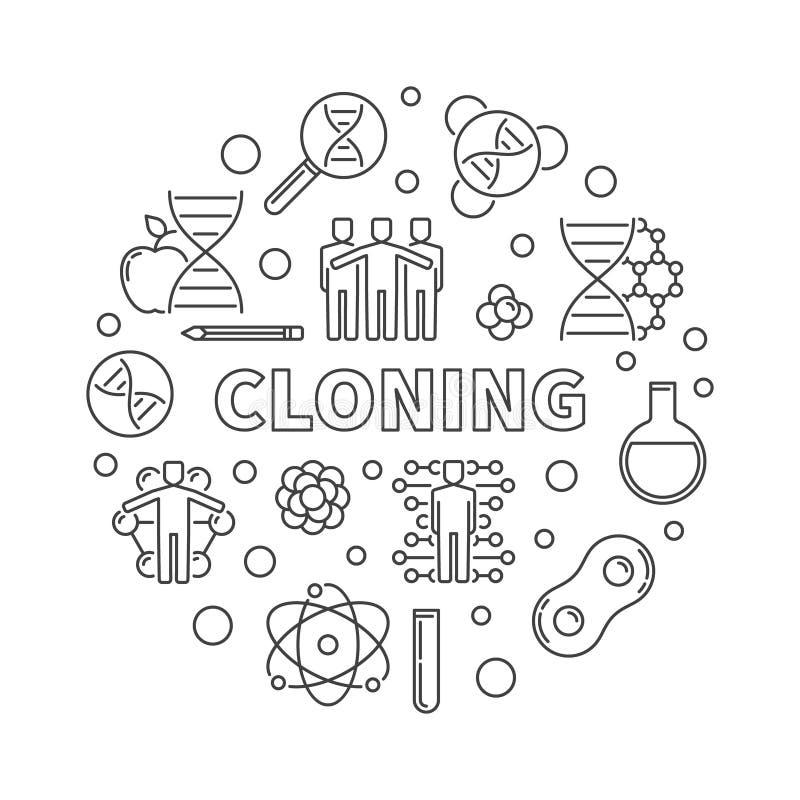 Διανυσματική ελάχιστη στρογγυλή απεικόνιση κλωνοποίησης στο λεπτό ύφος γραμμών απεικόνιση αποθεμάτων