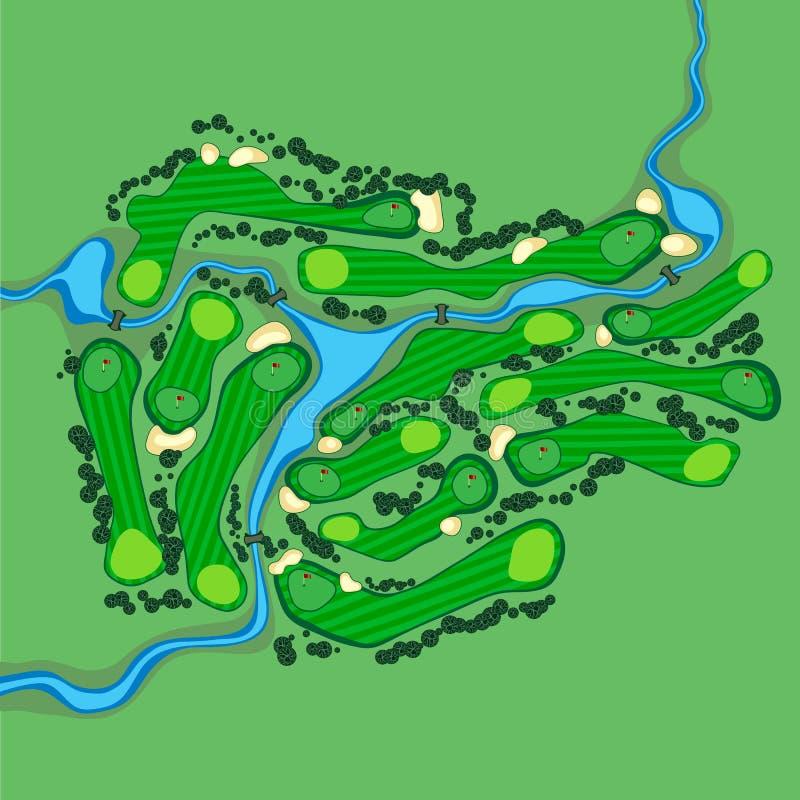 Διανυσματική εναέρια άποψη γηπέδων του γκολφ στοκ φωτογραφία