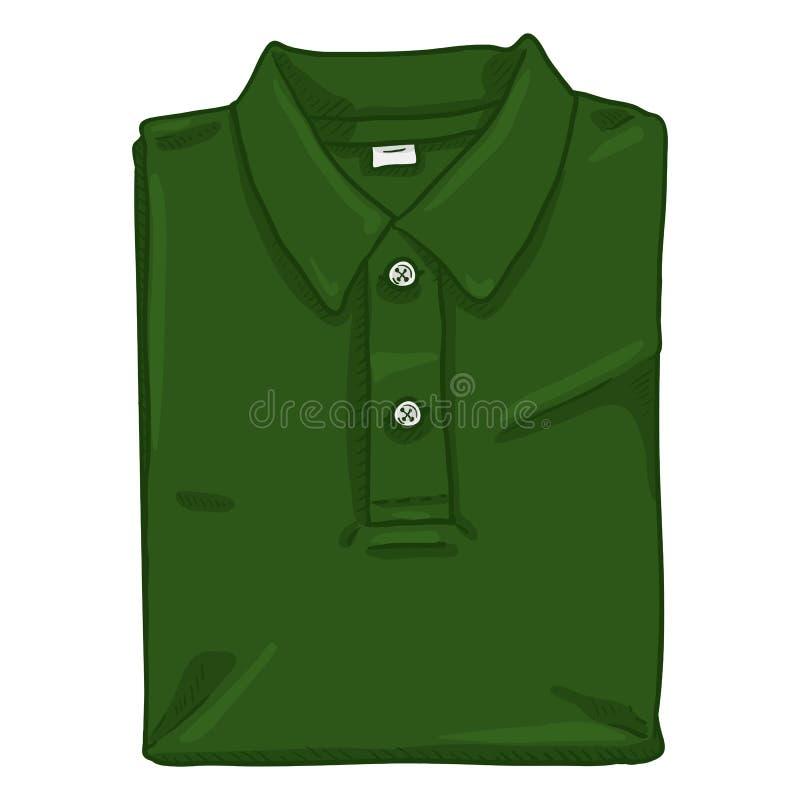 Διανυσματική ενιαία απεικόνιση κινούμενων σχεδίων - διπλωμένο πράσινο πουκάμισο πόλο απεικόνιση αποθεμάτων
