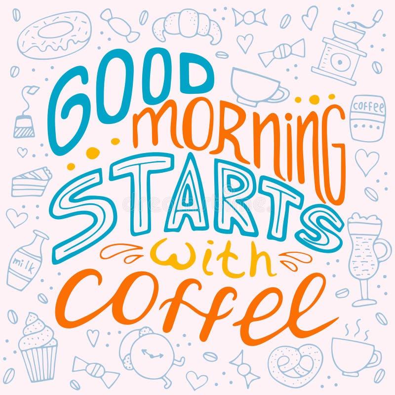 Διανυσματική εννοιολογική απεικόνιση με τα doodles Ενάρξεις καλημέρας με τον καφέ απεικόνιση αποθεμάτων