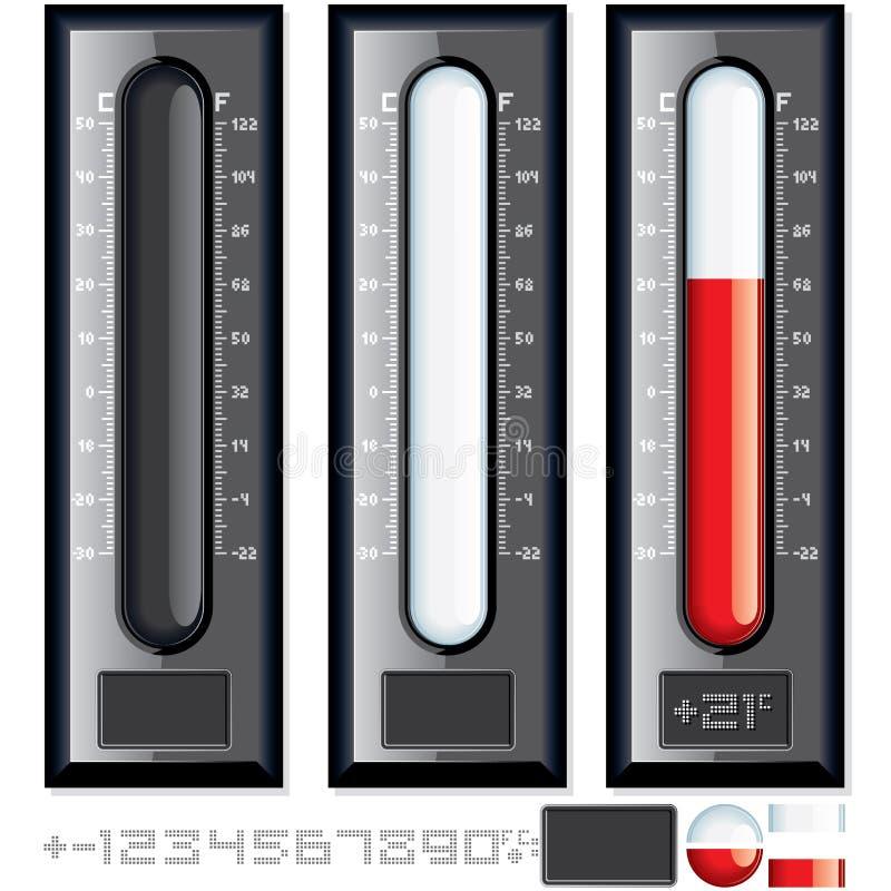 Διανυσματική εξάρτηση θερμομέτρων. Εξατομικεύσιμη απεικόνιση διανυσματική απεικόνιση
