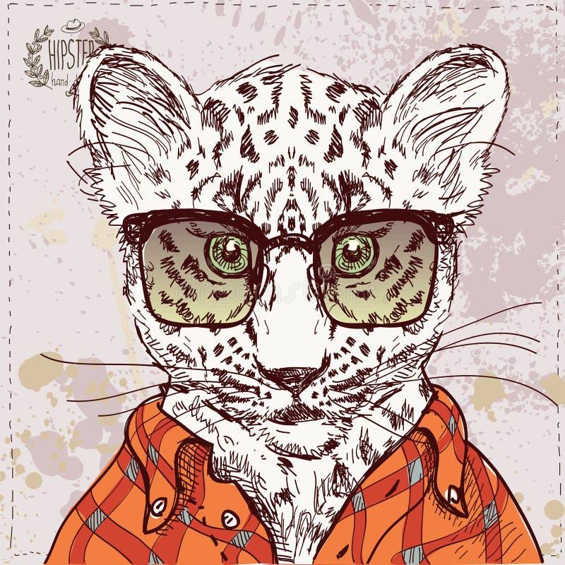 Διανυσματική λεοπάρδαλη hipster με τα γυαλιά και το κοστούμι μέσα διανυσματική απεικόνιση