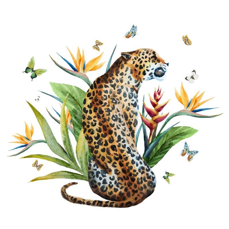 Διανυσματική λεοπάρδαλη Watercolor ελεύθερη απεικόνιση δικαιώματος