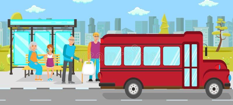 Διανυσματική επίπεδη απεικόνιση δημόσιων συγκοινωνιών στάσεων λεωφορείου διανυσματική απεικόνιση