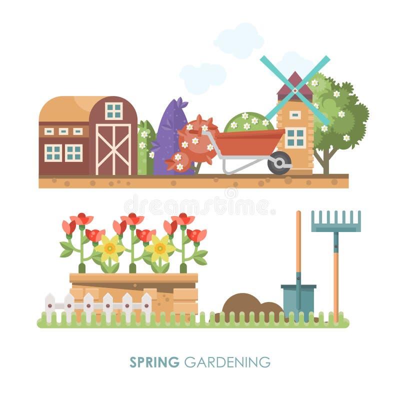 Διανυσματική επίπεδη απεικόνιση κηπουρικής άνοιξη στα χρώματα κρητιδογραφιών με τη χαριτωμένους σιταποθήκη και το μύλο διανυσματική απεικόνιση
