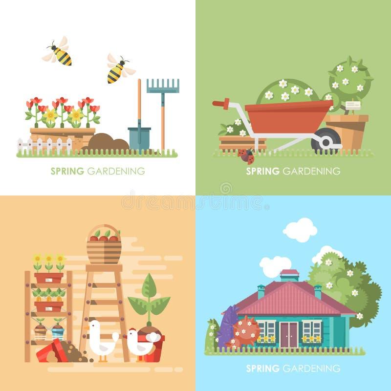 Διανυσματική επίπεδη απεικόνιση κηπουρικής άνοιξη στα χρώματα κρητιδογραφιών με το χαριτωμένες σπίτι, wheelbarrow και τις μέλισσε ελεύθερη απεικόνιση δικαιώματος