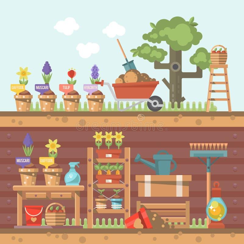 Διανυσματική επίπεδη απεικόνιση κηπουρικής άνοιξη στα χρώματα κρητιδογραφιών με χαριτωμένα wheelbarrow, τα λουλούδια και τα εργαλ απεικόνιση αποθεμάτων