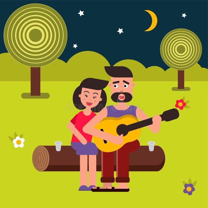 Διανυσματική επίπεδη απεικόνιση, κινούμενα σχέδια ύφους Νέα ευτυχής οικογένεια σε ένα πικ-νίκ Ένα ζεύγος ερωτευμένο, τραγούδια κα ελεύθερη απεικόνιση δικαιώματος