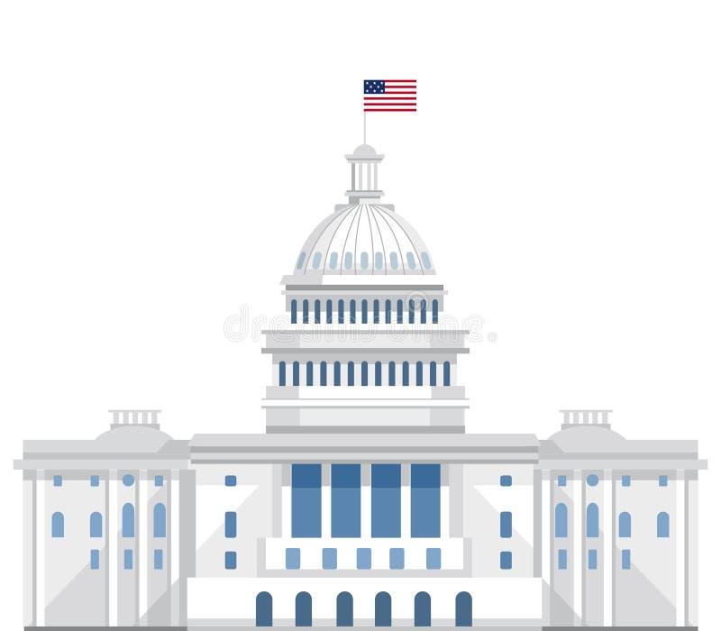 Διανυσματική επίπεδη απεικόνιση Λευκών Οίκων dc washington Capitol απεικόνιση αποθεμάτων