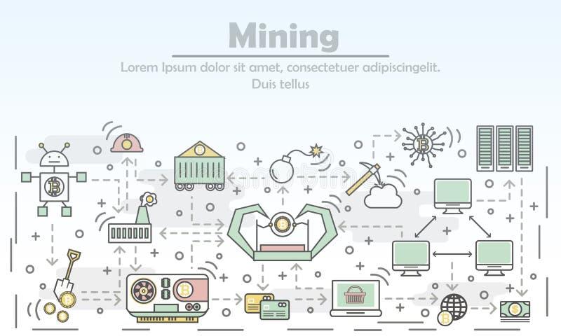 Διανυσματική επίπεδη απεικόνιση τέχνης γραμμών έννοιας μεταλλείας Bitcoin απεικόνιση αποθεμάτων