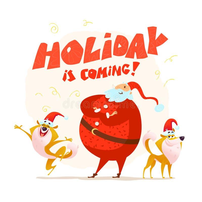 Διανυσματική επίπεδη απεικόνιση Χαρούμενα Χριστούγεννας με το ευτυχές santa και δύο σκυλιά στο καπέλο santa στο άσπρο υπόβαθρο απεικόνιση αποθεμάτων