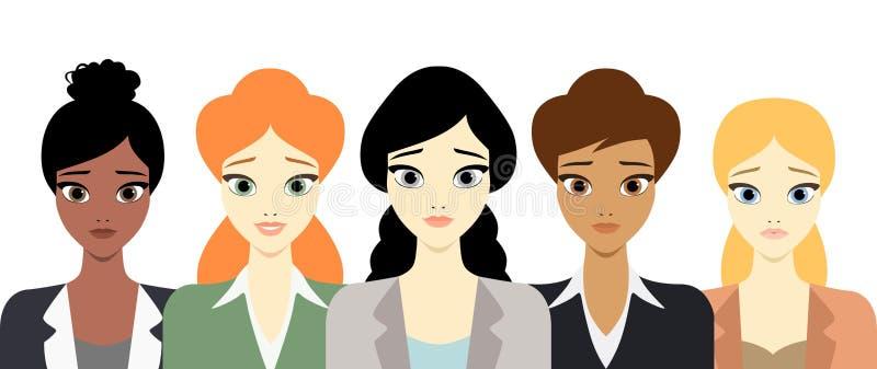 Διανυσματική επίπεδη απεικόνιση ύφους πέντε πολυπολιτισμικών επιτυχών επιχειρησιακών γυναικών που στέκονται στο άσπρο υπόβαθρο ελεύθερη απεικόνιση δικαιώματος