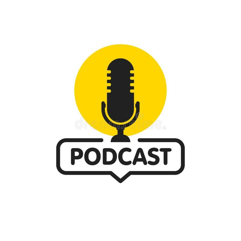Διανυσματική επίπεδη απεικόνιση Podcast, εικονίδιο, σχέδιο λογότυπων στο άσπρο υπόβαθρο απεικόνιση αποθεμάτων