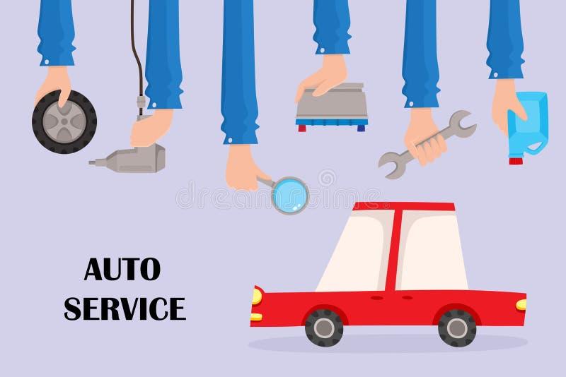 Διανυσματική επίπεδη αυτόματη αφίσα υπηρεσιών με τα χέρια, αυτοκίνητο ελεύθερη απεικόνιση δικαιώματος