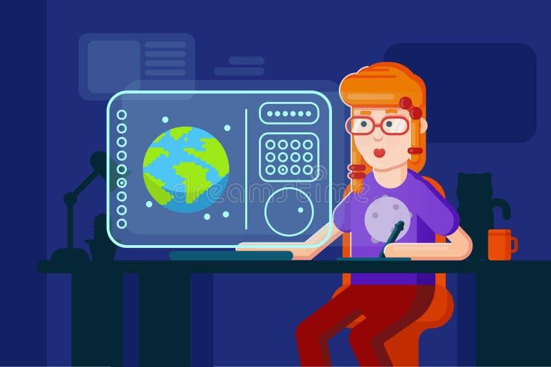 Διανυσματική επίπεδη διαδικασία εργασίας απεικόνισης σχεδιαστών κοριτσιών Εργασίες προγραμματιστών Freelancer στον υπολογιστή στη απεικόνιση αποθεμάτων