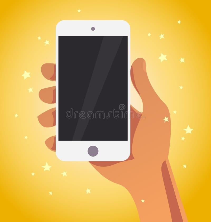 Διανυσματική επίπεδη ανθρώπινη απεικόνιση smartphone εκμετάλλευσης χεριών απεικόνιση αποθεμάτων