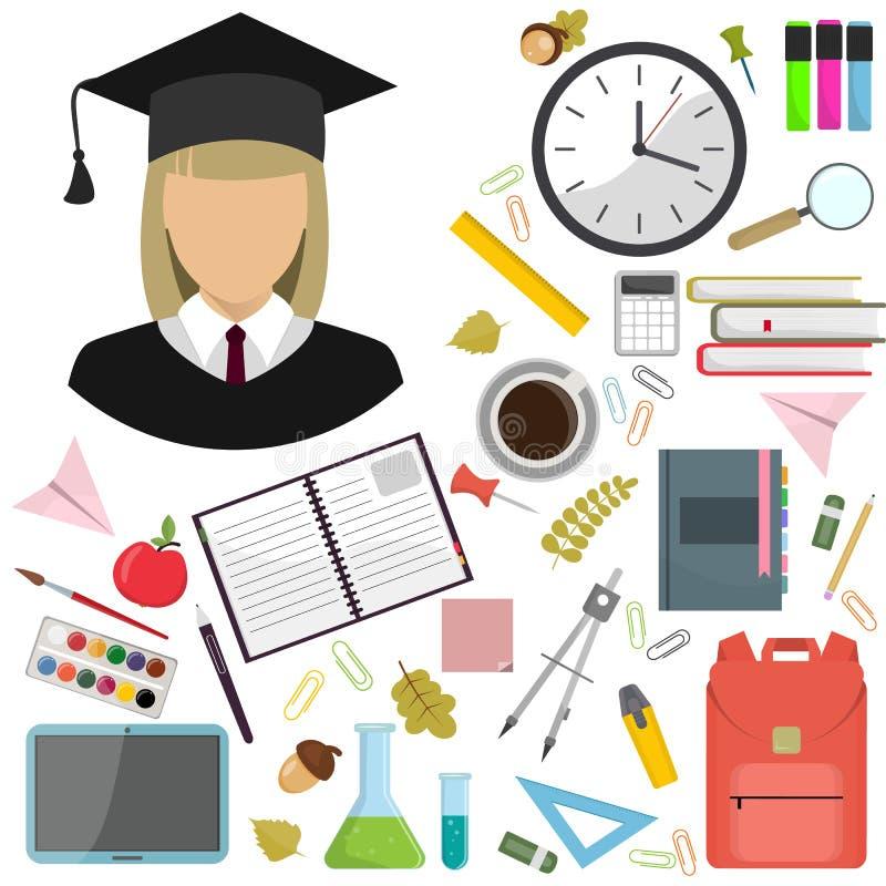 Διανυσματική επίπεδη απεικόνιση απεικόνισης των σχολικών προμηθειών Εικονίδιο σπουδαστών κοριτσιών ελεύθερη απεικόνιση δικαιώματος