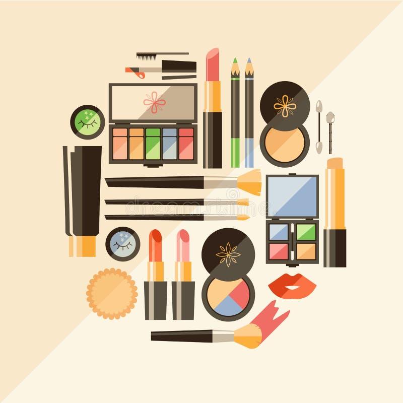 Διανυσματική επίπεδη απεικόνιση καλλυντικών Προϊόντα μόδας ομορφιάς δεκαετία απεικόνιση αποθεμάτων