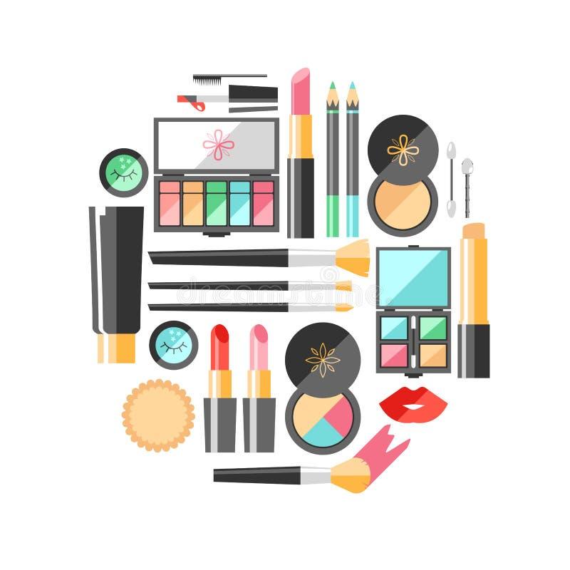 Διανυσματική επίπεδη απεικόνιση καλλυντικών Προϊόντα μόδας ομορφιάς δεκαετία διανυσματική απεικόνιση