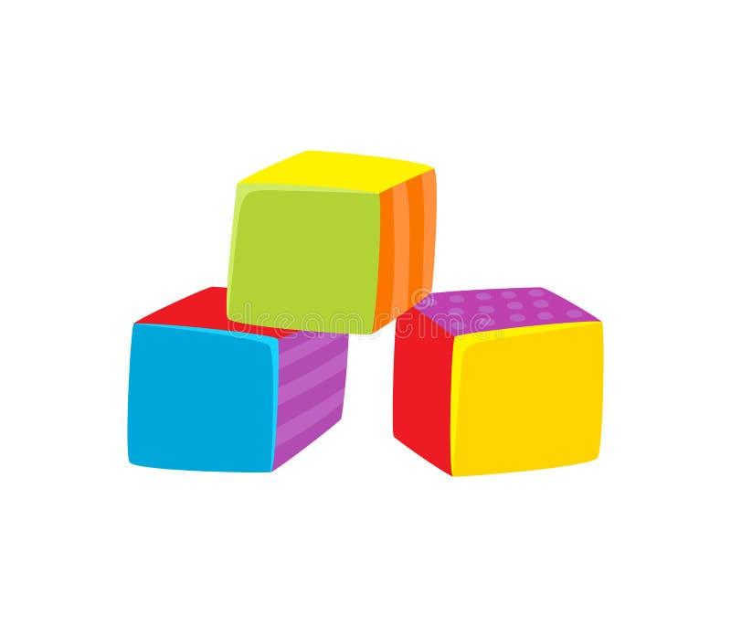Διανυσματική επίπεδη απεικόνιση παιχνιδιών κύβων που απομονώνεται ελεύθερη απεικόνιση δικαιώματος