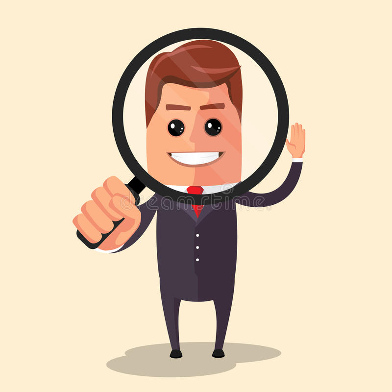 Διανυσματική επίπεδη απεικόνιση σχεδίου Χαρακτήρας διευθυντών που κοιτάζει μέσω μιας ενίσχυσης - γυαλί διανυσματική απεικόνιση