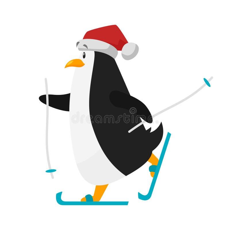 Διανυσματική επίπεδη απεικόνιση ύφους να κάνει σκι penguin στο καπέλο Santa απεικόνιση αποθεμάτων