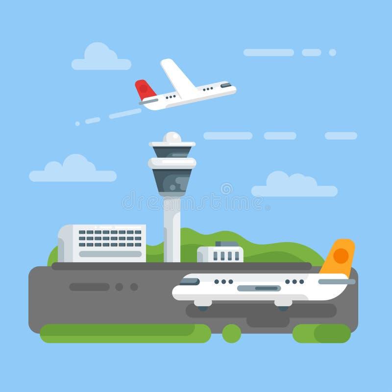 Διανυσματική επίπεδη απεικόνιση ύφους του αερολιμένα ελεύθερη απεικόνιση δικαιώματος