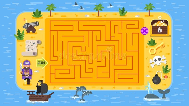 Διανυσματική επίπεδη απεικόνιση ύφους του επιτραπέζιου παιχνιδιού πειρατών παιδιών απεικόνιση αποθεμάτων