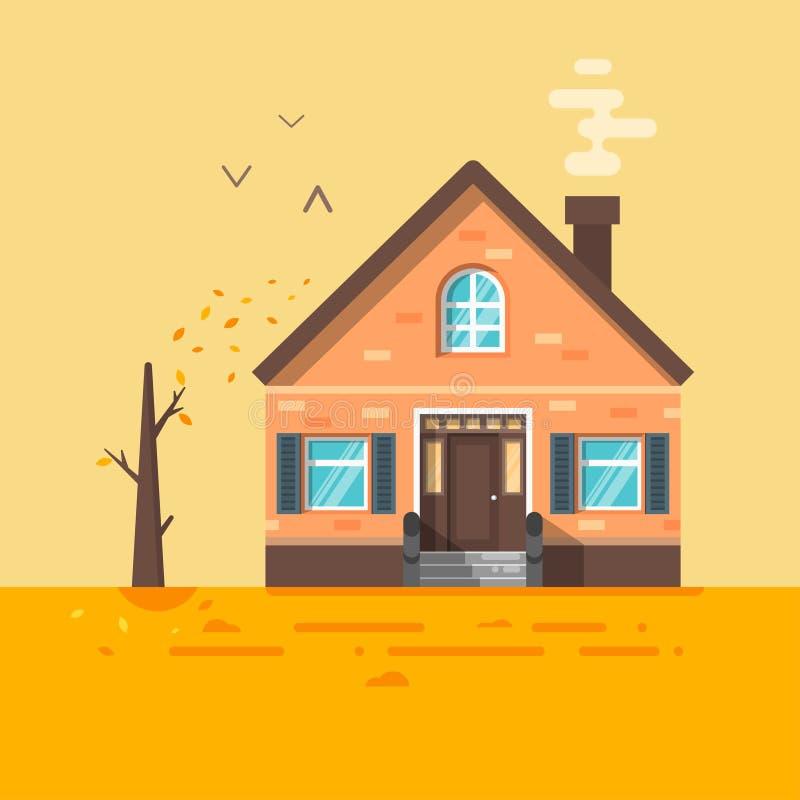 Διανυσματική επίπεδη απεικόνιση ύφους του σπιτιού το φθινόπωρο ελεύθερη απεικόνιση δικαιώματος