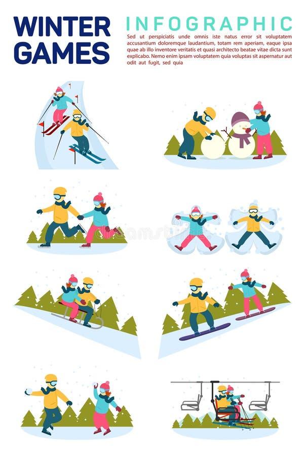 Διανυσματική επίπεδη απεικόνιση infographic των αθλητικών παιχνιδιών χειμερινού χιονιού Κάνοντας σκι, κάνοντας το χιονάνθρωπο, πα απεικόνιση αποθεμάτων