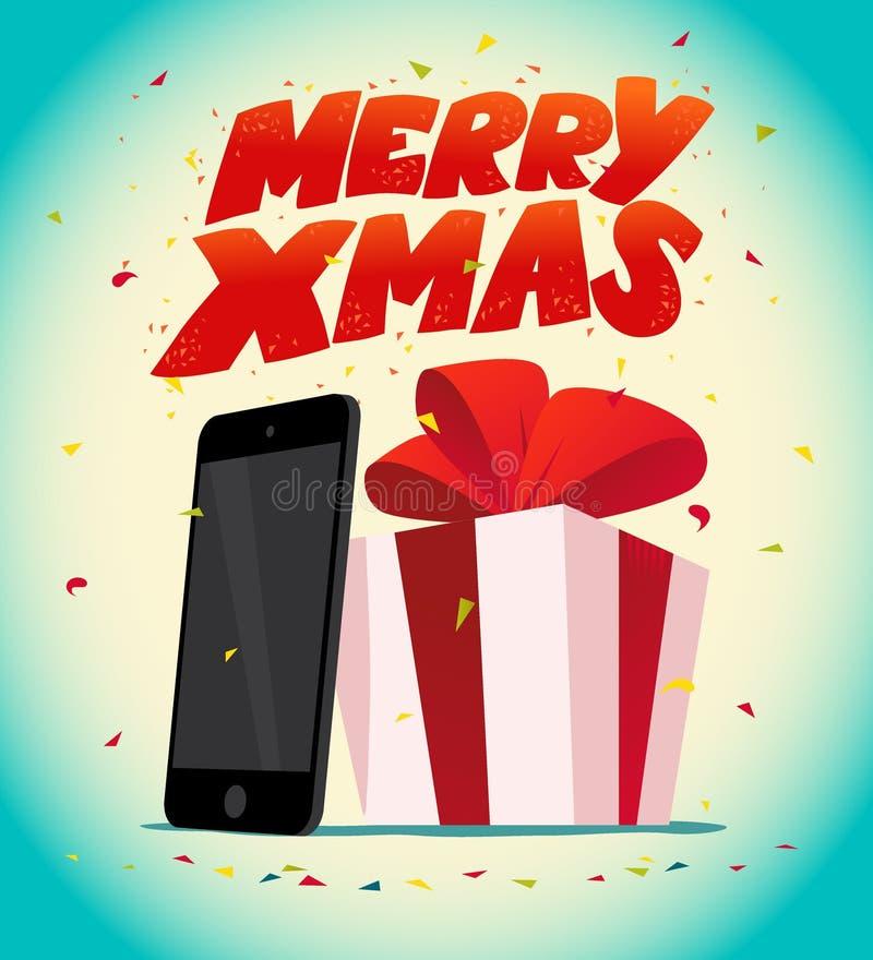 Διανυσματική επίπεδη καλή χρονιά και ταμπλέτα και smartphone Χαρούμενα Χριστούγεννας παρούσες απεικόνιση αποθεμάτων