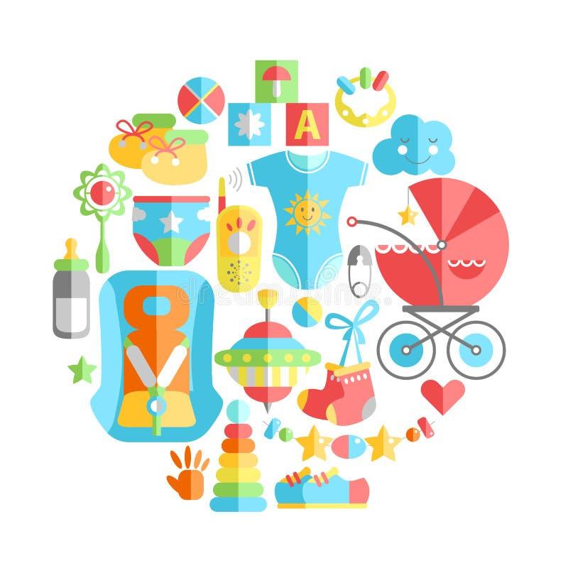 Διανυσματική επίπεδη παιδική ηλικία γύρω από την απεικόνιση Προϊόντα παιδικής ηλικίας μωρών Τ διανυσματική απεικόνιση
