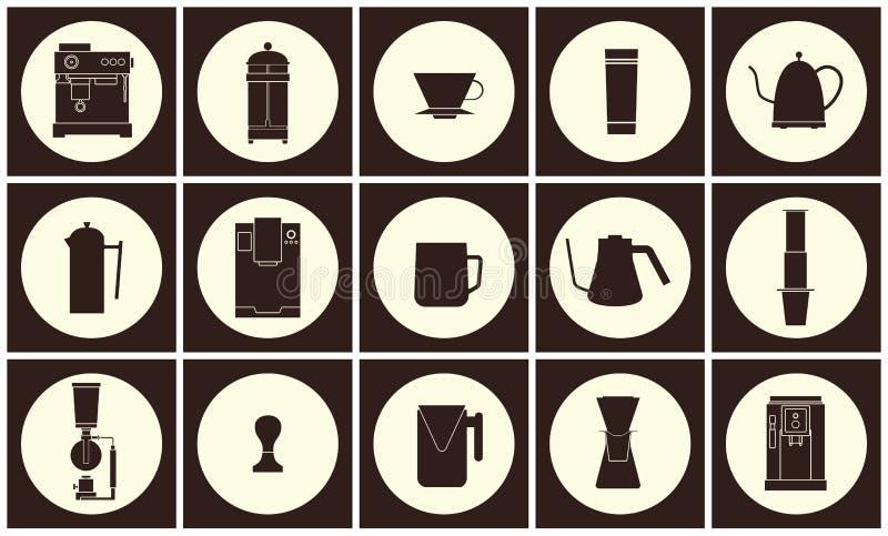 Διανυσματική επίπεδη συλλογή εικονιδίων γραμμών εξοπλισμού καφέ ελεύθερη απεικόνιση δικαιώματος