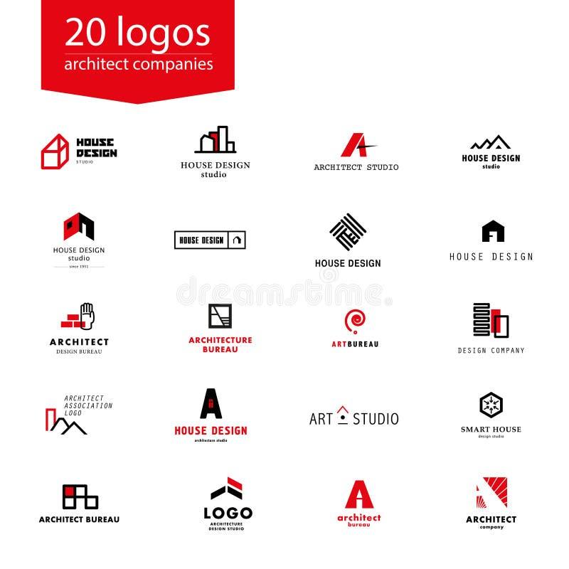 Διανυσματική επίπεδη συλλογή λογότυπων επιχείρησης αρχιτεκτονικής απεικόνιση αποθεμάτων
