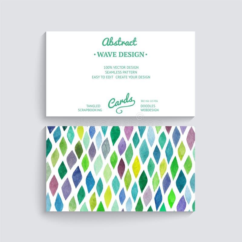 Διανυσματική επαγγελματική κάρτα με τη σύσταση watercolor Προσκλήσεις ή ANN διανυσματική απεικόνιση