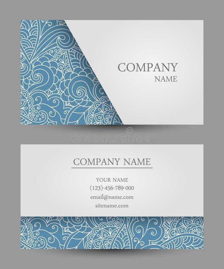 Διανυσματική επαγγελματική κάρτα προτύπων ζωηρόχρωμη διακόσμηση doodle απεικόνιση αποθεμάτων