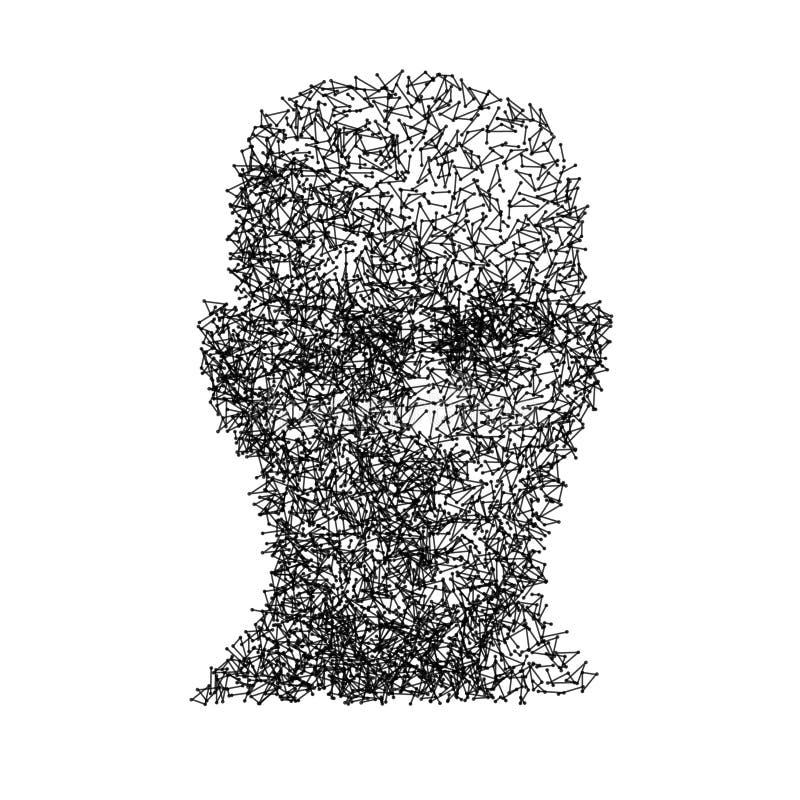 Διανυσματική επικεφαλής έννοια τεχνολογίας ανθρώπινου προσώπου wireframe διανυσματική απεικόνιση