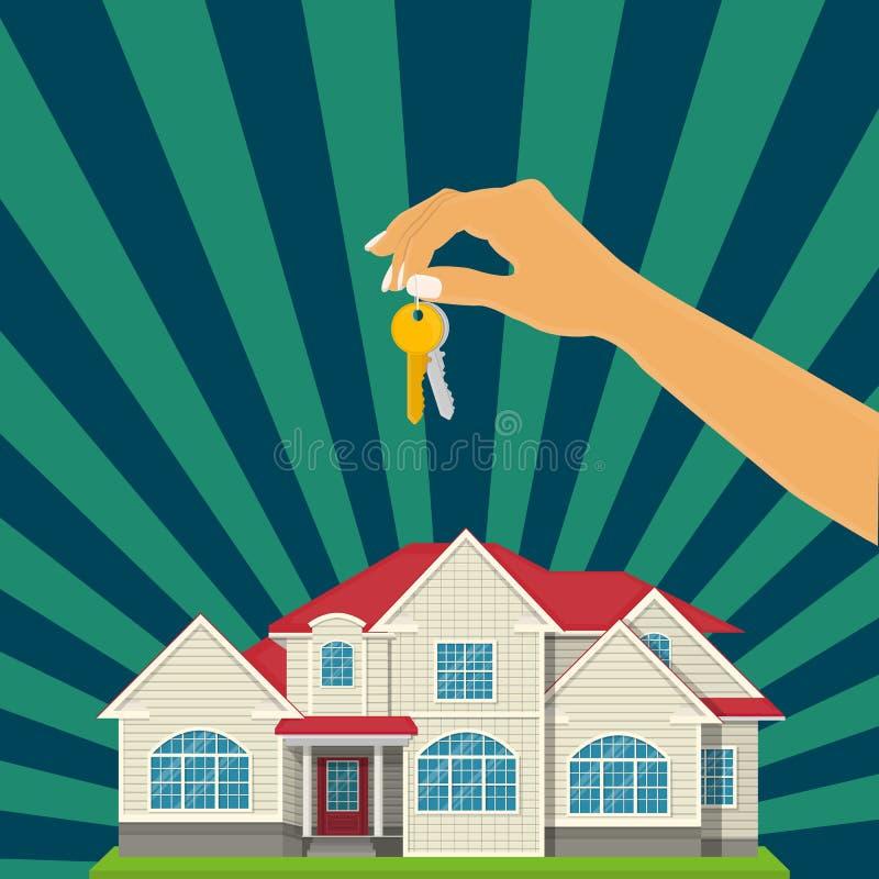 Διανυσματική επιχειρησιακή έννοια ακίνητων περιουσιών σπιτιών πώλησης και αγοράς με το εγχώριο κλειδί χεριών διανυσματική απεικόνιση