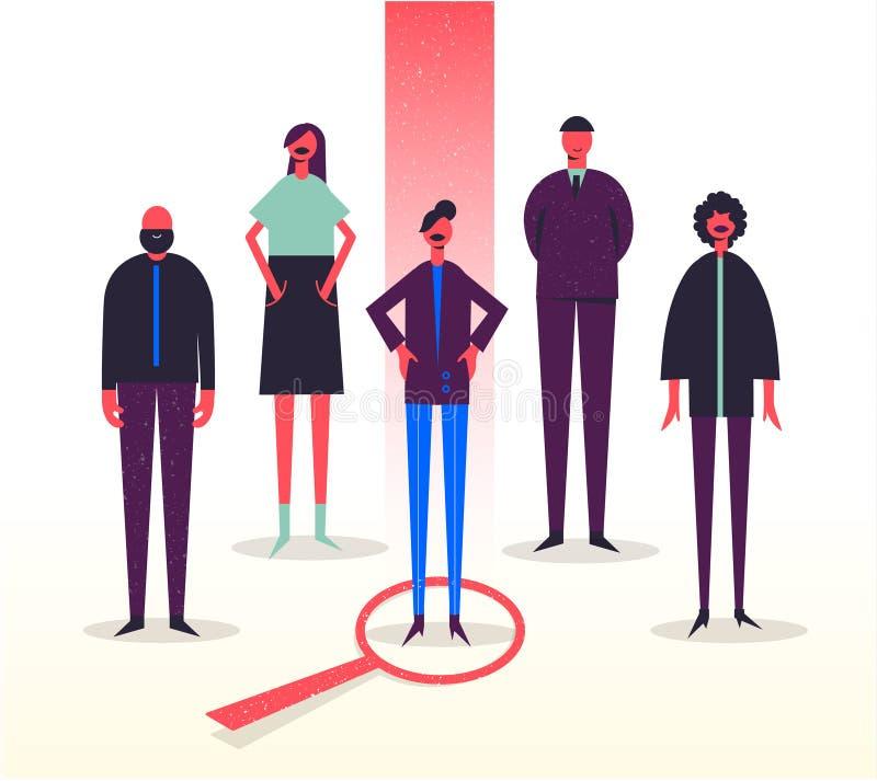 Διανυσματική επιχειρησιακή απεικόνιση, τυποποιημένοι χαρακτήρες Στρατολόγηση, επικεφαλής κυνήγι, έρευνα εργασίας Επιλογή ενός από απεικόνιση αποθεμάτων
