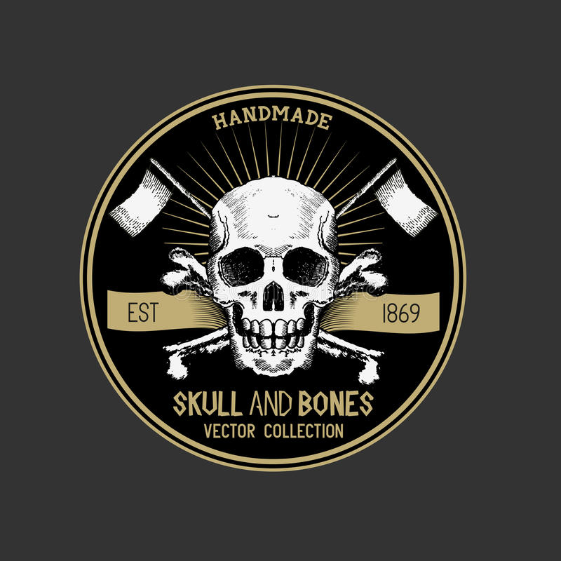 Διανυσματική ετικέτα κρανίων πειρατών ελεύθερη απεικόνιση δικαιώματος