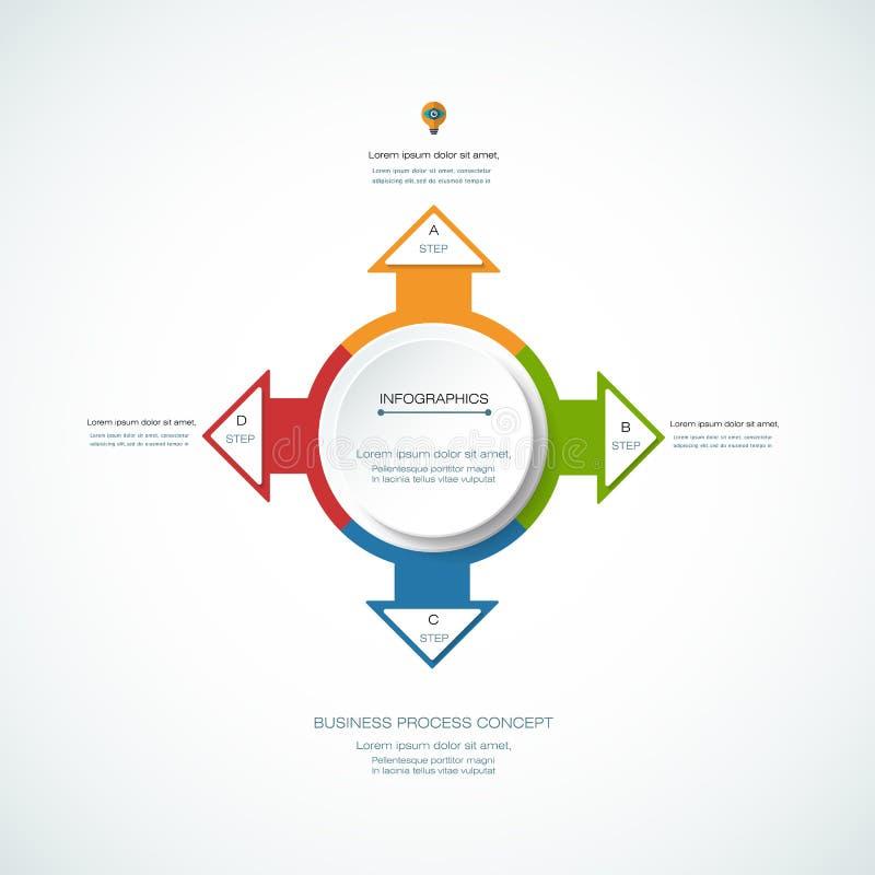 Διανυσματική ετικέτα κύκλων infographics τρισδιάστατη με σημάδι βελών και 4 επιλογές απεικόνιση αποθεμάτων