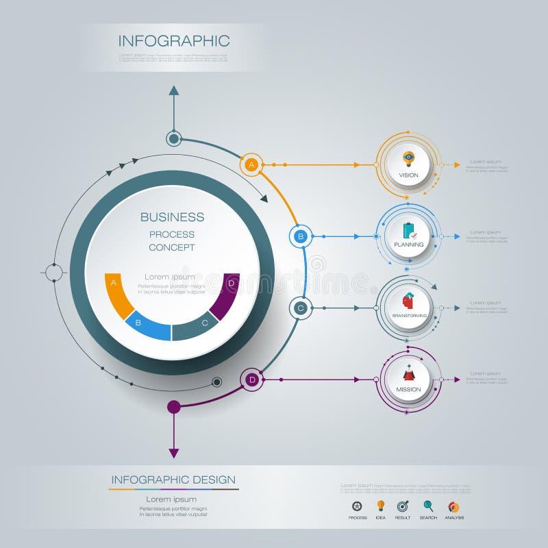 Διανυσματική ετικέτα κύκλων infographics τρισδιάστατη με σημάδι βελών και 4 επιλογές ελεύθερη απεικόνιση δικαιώματος