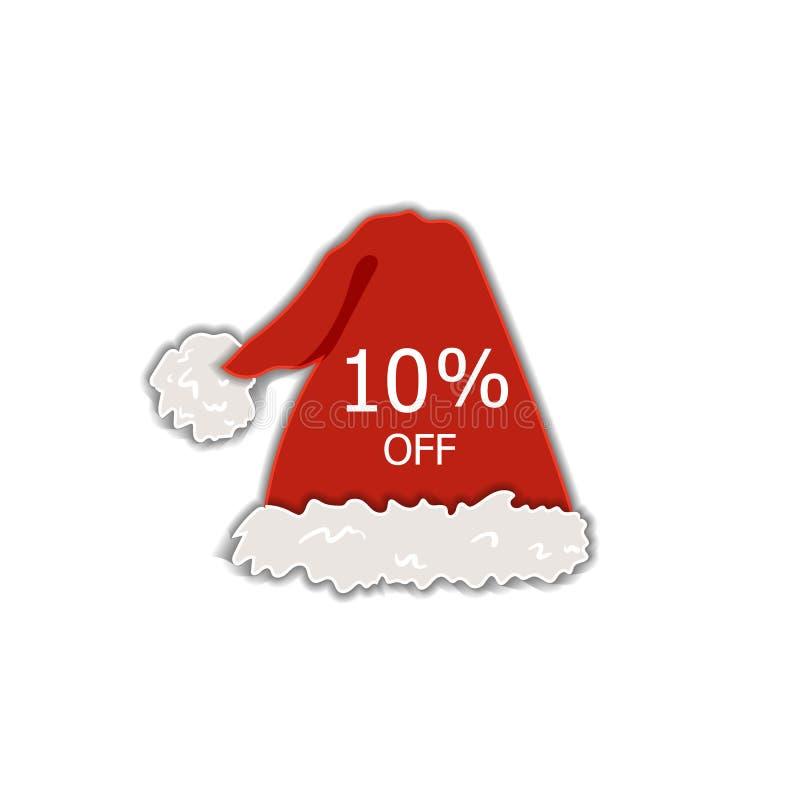 Διανυσματική ετικέτα πώλησης Χριστουγέννων, ετικέττα έκπτωσης, 10 Percents μακριά, κόκκινο καπέλο διακοπών Santa, ζωηρόχρωμο διακ διανυσματική απεικόνιση