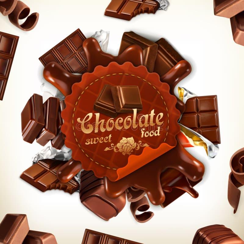 Διανυσματική ετικέτα σοκολάτας απεικόνιση αποθεμάτων